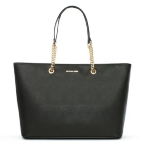 Michael Kors Jet Set Travel Large Black Leather Top Zip Multifunctional Tote Bag