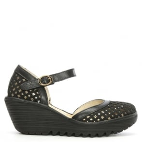 Fly London Yadu Black Leather Perforated Wedge Mary Jane