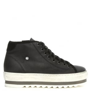 Daniel Slabsy Black Leather Flatform High Top Trainer