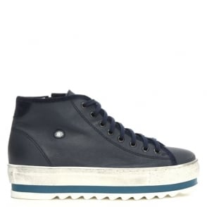 Daniel Slabsy Navy Leather Flatform High Top Trainer