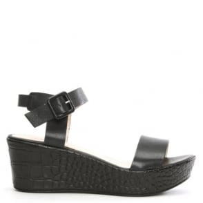 Black Leather Low Wedge Sandal