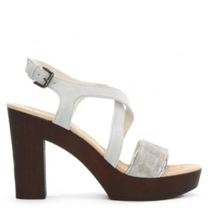 Grey Suede Cross Over Platform Sandal