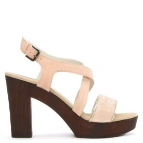 Pink Suede Cross Over Platform Sandal