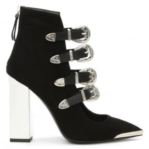 Allyn Cindy Black Suede Buckled Pointed Toe Ankle Boot