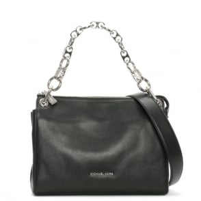 Michael Kors Gianna Medium Black Leather Link Strap Messenger Bag