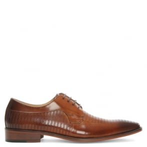 Daniel Cheriton Tan Leather Punched Lace Up Shoe
