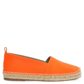 Anya Hindmarch Smiley Neon Orange Leather Espadrille