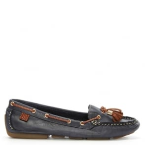 Moda In Pelle Alivia Navy Leather Moccasin