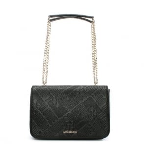 Love Moschino Batu Black Embossed Logo Cross-Body Bag