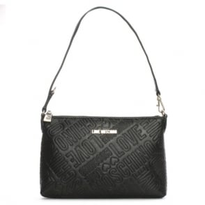 Love Moschino Petronas Black Logo Embossed Shoulder Bag