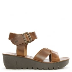 Fly London Yeri Camel Leather Ankle Strap Wedge Sandal