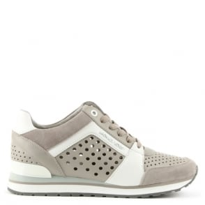 Michael Kors Billie Grey Leather & Suede Perforated Trainer