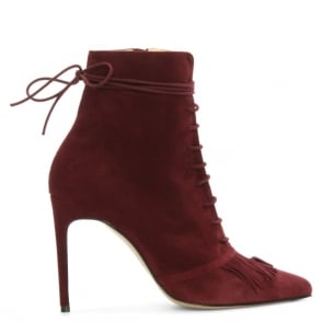 Bionda Castana Demi Burgundy Suede Fringed Ankle Boot