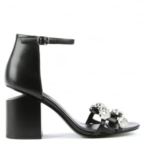 Alexander Wang Jewelled Black Leather Abby Sandal