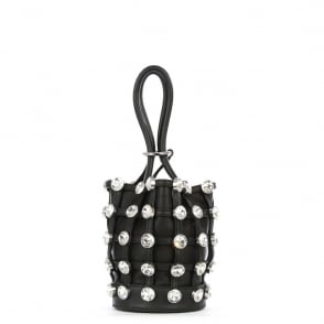 Alexander Wang Mini Roxy Black Leather Jewelled Bucket Bag