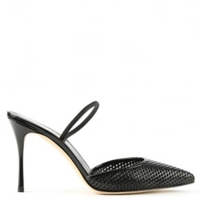 Sergio Rossi Godiva Perforated Black Patent Leather Heeled Shoe