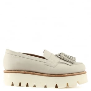 Grenson Claudia Cream Leather Tassel Cleated Loafer