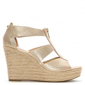 Michael Kors Damita Gold Metallic Wedge Espadrille