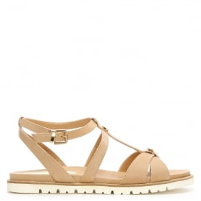 Loretta Pettinari Beige Leather Gladiator Sandal