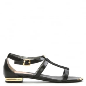 Loretta Pettinari Black Leather Reptile T Bar Sandal