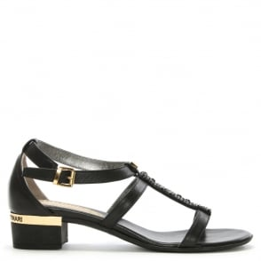 Loretta Pettinari Black Leather Diamante T Bar Sandal