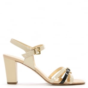 Loretta Pettinari Beige Patent Leather Buckle Strap Sandal