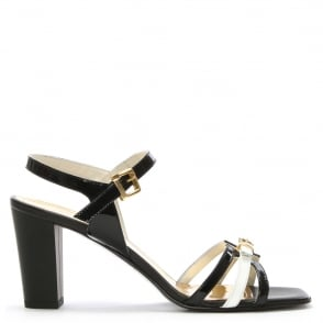 Loretta Pettinari Black Patent Leather Buckle Strap Sandal