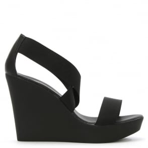 Rapisardi Black Elasticated Strap High Wedge Sandal