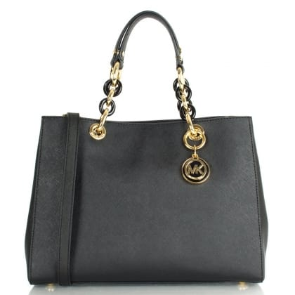 Michael Kors Cynthia Satchel Black Saffiano Top Handle Bag
