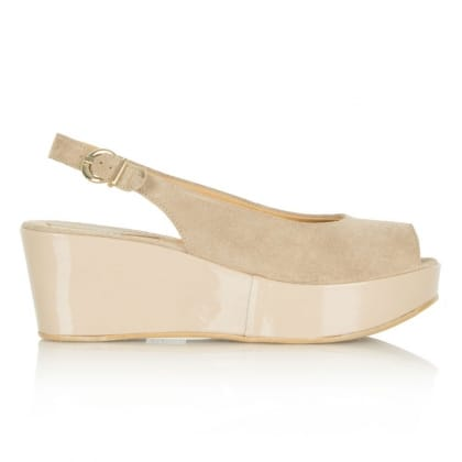 Daniel Moderate Taupe Suede/Patent Platform Wedge Sandal