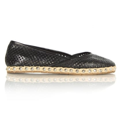 Daniel Ruddy Black Leather Women's Studded Espadrille