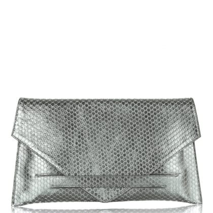 Daniel Envelope Silver Reptile Leather Clutch Bag