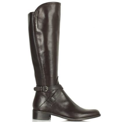 Daniel Idil Brown Leather Knee Length Flat Boot