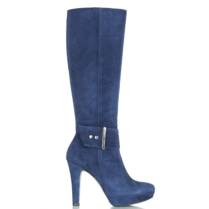 Daniel Community Navy Suede Knee High Heeled Ankle Boot