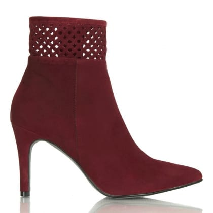 Daniel Burgundy Suede Contact Laser Cut Ankle Boots