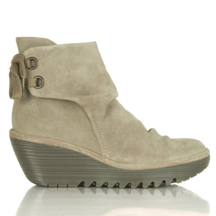 Fly London Taupe Suede Yama Mid Wedge Lace Back Boots