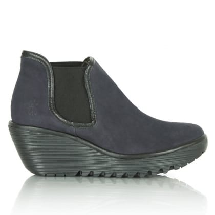 Fly London Navy Suede Yat Women's Wedge Ankle Boot