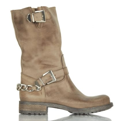 Daniel Taupe Leather Chains Calf Biker Boot