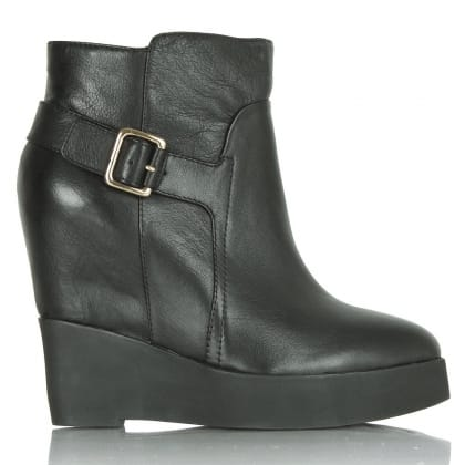 Daniel Opare Black Leather Wedge Ankle Boot