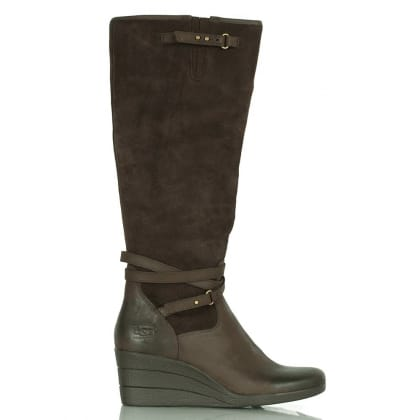 UGG Lesley Brown Leather Wedge Knee Boot
