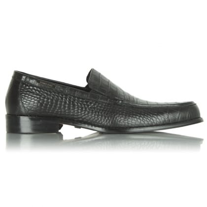 Black Romeo Gigli Reptile Leather loafer