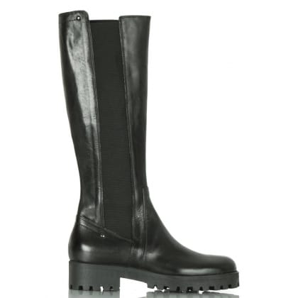 Daniel Black Leather Cleated Women's Knee High Boot