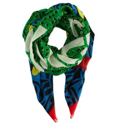 Marc Jacobs Girl Green Bold Print Wool Scarf