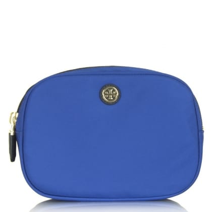 Tory Burch Travel Nylon Blue Fabric Double Zip Cosmetic Case