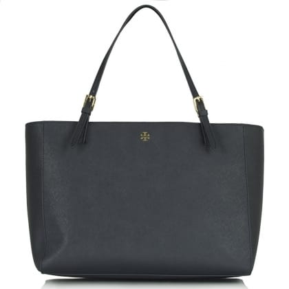 Tory Burch York Buckle Navy Leather Tote Bag