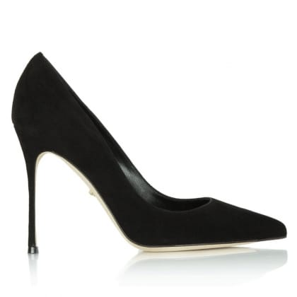 Sergio Rossi Black Stiletto Suede Court Shoe