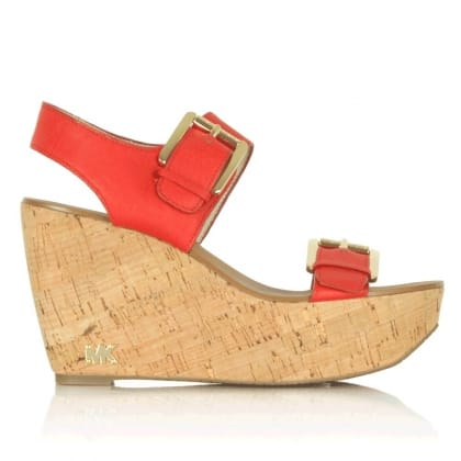 Michael Kors Warren Orange Leather Wedge Sandal