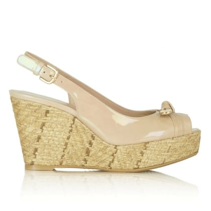 Stuart Weitzman Chatter Taupe Patent Wedge Sandal