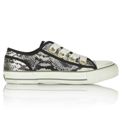 Vicky Ash Beige Reptile Lace Up Trainers