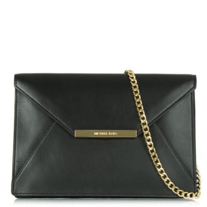 Michael Kors Lana Envelope Black Leather Clutch